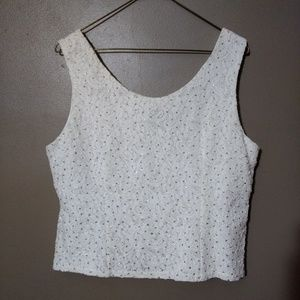 R&M Richards White Sequin Shell Top 14 P